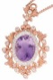 Rose Gold filigree pendant Amethyst